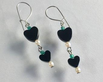 Black Onyx Heart and Pearl Earrings