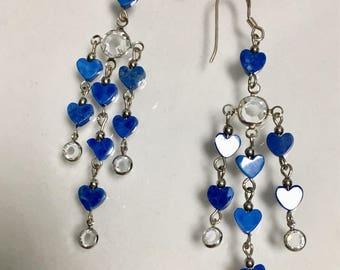 Gemstone Earrings, Lapis Lazuli Heart Earrings, Turquoise Earrings, Lapis Earrings, Swarovski Earrings, Lucy Isaacs