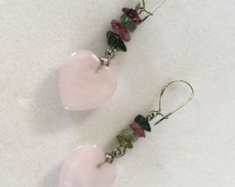 Rose Quartz Earrings, Tourmaline Earrings, Pink Heart Earrings, Gemstone Earrings Tourmaline by Lucy Isaacs