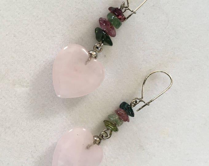 Rose Quartz Earrings, Tourmaline Earrings, Pink Heart Earrings, Gemstone Earrings Tourmaline by Lucy Isaacs