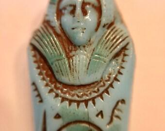 Max Neiger Egyptian Revival Mummy Pendant Blue 1920-30 Czech Glass