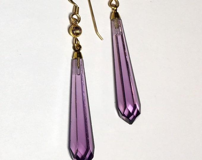 Vintage Czech Glass Earrings Amethyst Czech Glass Purple Czech Glass Faceted Drop Earrings, Elegant Earrings