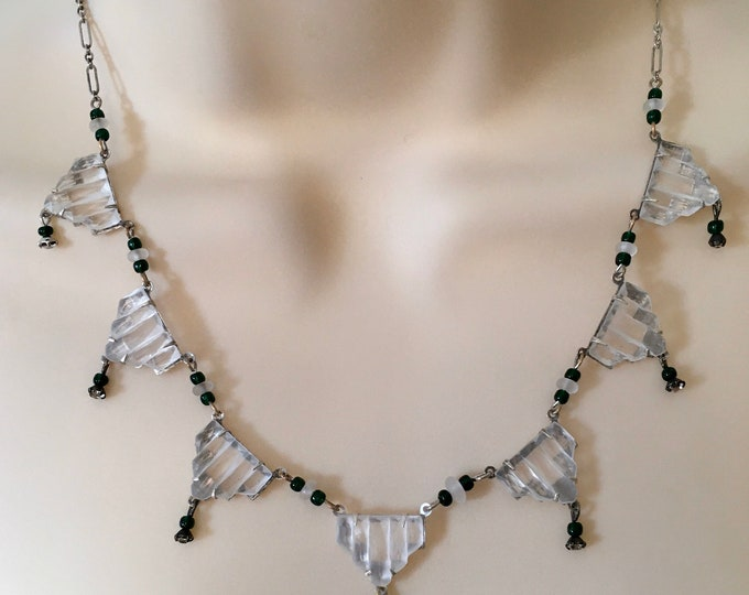 Vintage Art Deco Sterling Silver and Crystal Czech Glass 7 Step Necklace