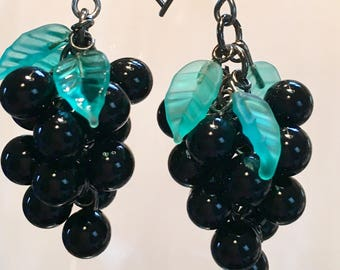 Wine Lover Gift, Vineyard Gift, Antique Black Glass Grape Cluster Earrings, choose Black, Pink, Cobalt Blue, Amethyst or Green