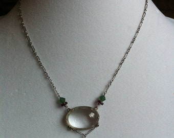 Lucy Isaacs Vintage Sterling Silver and Natural Rock Crystal Oval Necklace