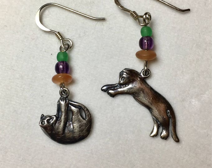 Vintage Cat Earrings, Kitty Earrings, Kitten Earrings, Sterling Silver Cat Earrings Small Action Cats by Lucy Isaacs
