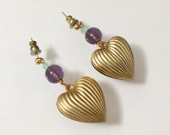 Vintage Gold Puffy Heart Boho Statement Earrings Festival Earrings by Lucy Isaacs
