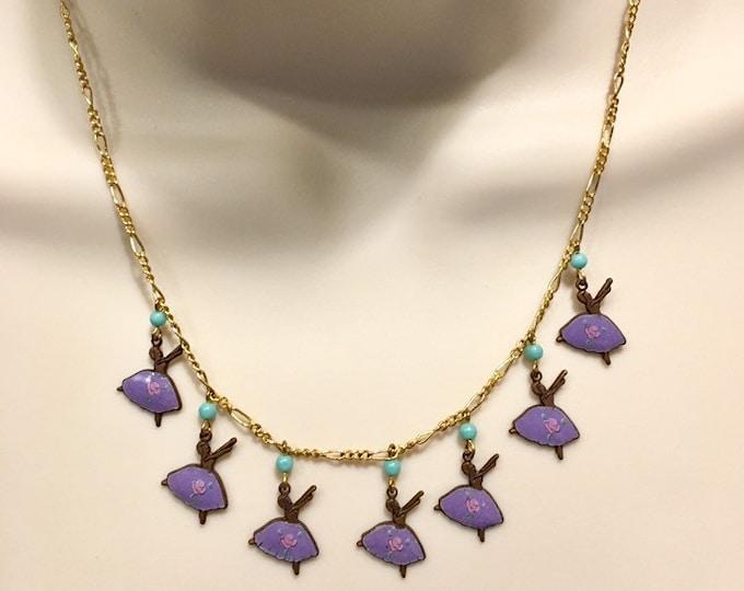 Enamel Necklace, Vintage Enamel Ballerina Necklace, Purple Necklace, Ballerina Gift, Ballet Necklace, Dancer Necklace, Dance Gift