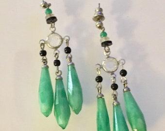 Vintage Czech Glass Earrings, Peking Green Glass Earrings, Green Chandelier Earrings,