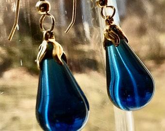 Rare Blue Bakelite Earrings