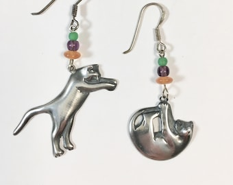 Cat Earrings, Sterling Silver Cat Earrings, Action Cats by Lucy Isaacs, silver cat, sterling cat earrings, Large Size Cat, Pussy Hat