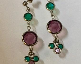 Swarovski Crystal Earrings Amethyst and Emerald Crystal Dangle Earrrings by Lucy Isaacs