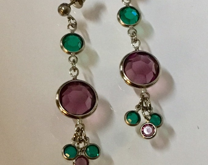 Swarovski Crystal Earrings Amethyst and Emerald Crystal Dangle Earrrings by Lucy Isaacs