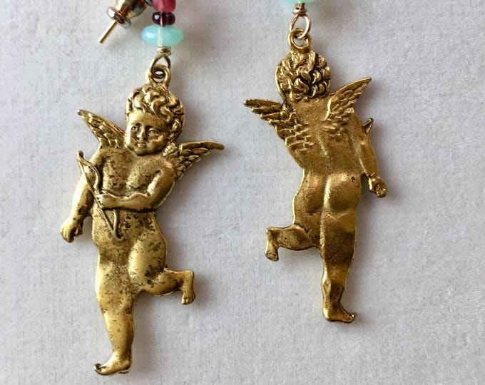 Gold Cupid Earrings, Vintage Gold Angel Earrings, Golden Putti Earrings, Valentines Gift,  Lucy Isaacs