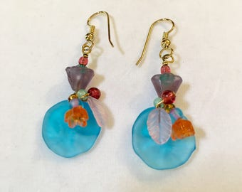 Vintage Czech Glass Earrings, Blue Earrings, Czech Glass Flower Earrings, Glass Flower Earrings, Art Glass Earrings, Blue Floral Earrings