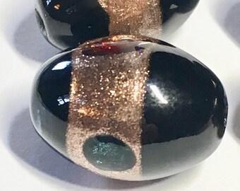 2- 18 mm Vintage Japan Black Oval Foil Beads, Vintage Wedding Cake Beads, 18 mm Beads, Black Oval Beads, Egg Beads (2) per lot