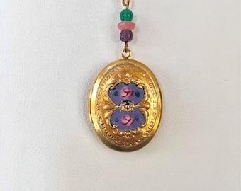Vintage Enamel Locket, Vintage Purple Oval Locket, Lavender Enamel Locket, Lucy Isaacs Mothers Day