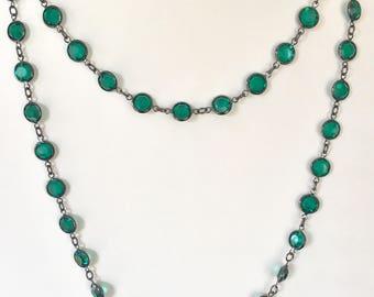 Vintage Swarovski Necklace, Green Crystal Necklace, Vintage Emerald Necklace, Green Swarovski Crystal Necklace, Crystal Necklace Lucy Isaacs