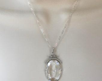 Antique Art Deco  Pendant, Czech Glass Pendant, 1920's Czech Glass Pendant, Sterling and Crystal Pendant, Crystal Necklace