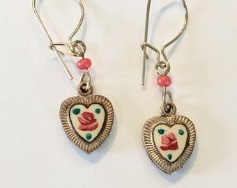 Vintage Heart Earrings, Vintage Enamel Heart Earrings, Vintage Heart Earrings, Cream Enamel Heart Earrings, Lucy Isaacs