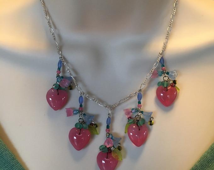 Vintage Czech Glass Necklace Antique Czech Glass Necklace, Lamp Work Necklace, Cherry Brand, Glass Flowers, Heart Necklace, Lucy Isaacs