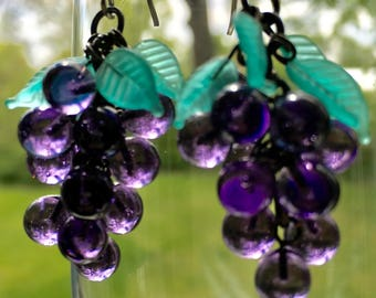 Antique Glass Grape Cluster Earrings