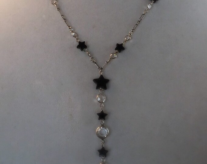 Vintage Onyx Star and  Swarovski Crystal Necklace by Lucy Isaacs