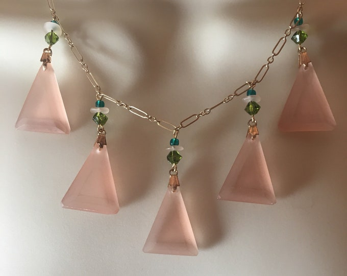 Vintage Czech Glass Necklace Art Deco Peach Pyramid and Swarovski Necklace by Lucy Isaacs Mothers Day