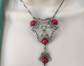 Antique Deco Necklace, Solid Sterling Silver and Red Czech Glass Necklace