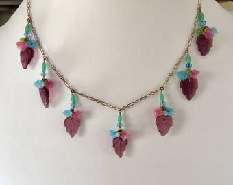 Vintage Czech Glass Necklace, Glass Flower Necklace, Vintage Pressed Glass Necklace,  Lampwork Necklace, Lucy Isaacs