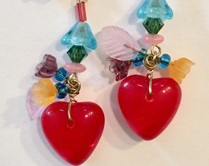 Vintage Red Heart Earrings, RED HOT Heart Earrings, Glass Flower Earrings