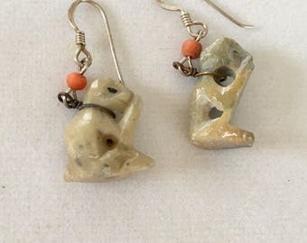 Monkey Earrings, Monkey Lover Earrings, Animal Lover Gift, Hear No Evil, Speak No Evil Monkey Soapstone Earrings by Lucy Isaacs
