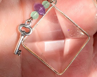 Key to the Pyramid Rock Crystal Pyramid Necklace