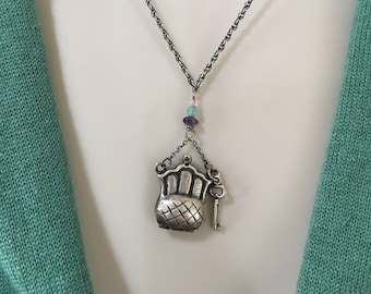 Vintage Sterling Silver locket,  Purse Charm, Reticulated Charm, Sterling Charm Necklace.