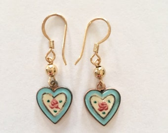 Vintage Turquoise Enamel Heart Earrings