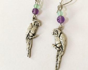 Vintage Parrot Earrings Sterling Parrot Earrings, Bird Earrings Macaw Earrings, Sterling Amethyst Lucy Isaacs