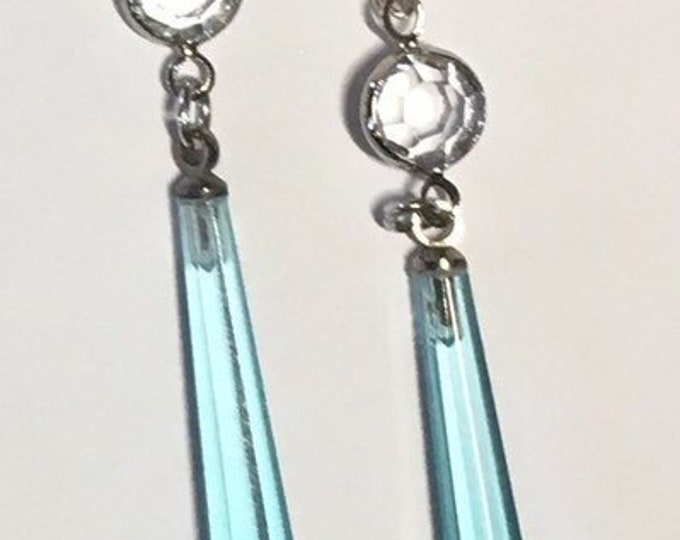 Vintage Czech Glass, Czech Glass Earrings, Aqua Earrings, Blue Earrings,  Czech Glass Faceted Drop Earrings, Lucy Isaacs