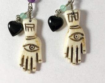 Hand of Hamsa, Palmistry Earrings Carved Cow Bone Hands, Evil Eye Earrings, Talisman Earrings , Fatima Earrings  by Lucy Isaacs