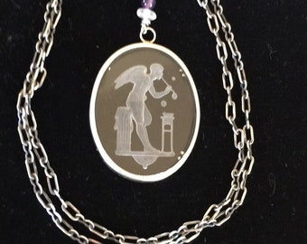 Antique Intaglio Pendant, Angel Necklace,  Solid .925 Chain and frame by Lucy Isaacs