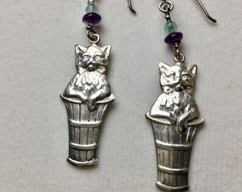 Solid Sterling Silver Cat Earrings, Cat Earrings, Silver Kitens, Kitten Earrings, Lucy Isaacs