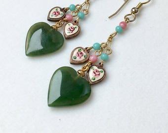 Jade Earrings, Jade Heart Earrings, Green Earrings, Vintage Jade, Enamel Heart Earrings, Mothers Day