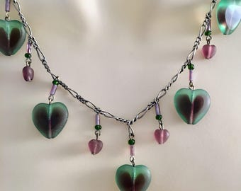 Heart Necklace, Vintage Glass Heart Necklace, Czech Glass Necklace, Purple and Green Heart Necklace , Vintage Hearts, Lucy Isaacs