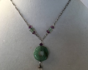 Jade Necklace, Green Jade Necklace, Vintage Feng Shui Necklace by Lucy Isaacs, Harmony Necklace, Peace Necklace,