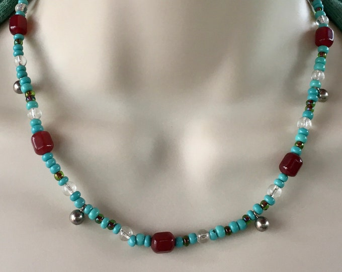 Retro Turquoise Choker, Unisex Choker by Lucy Isaacs.  Turquoise, Carnelian and Sterling Silver Choker.