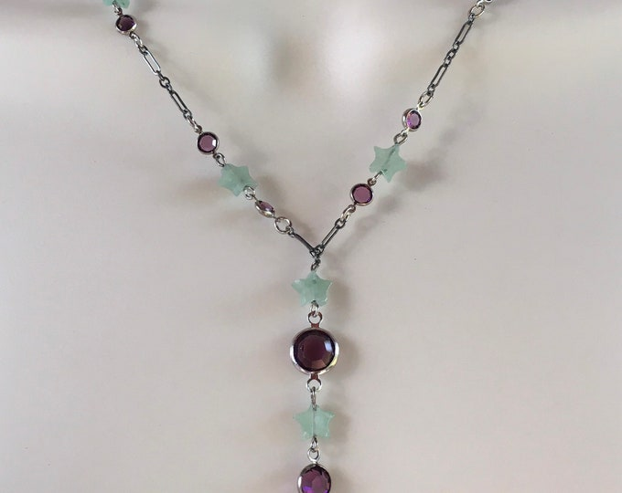 Star Necklace, Aventurine Necklace, Gemstone  Necklace, Green and Purple Star Necklace by Lucy Isaacs
