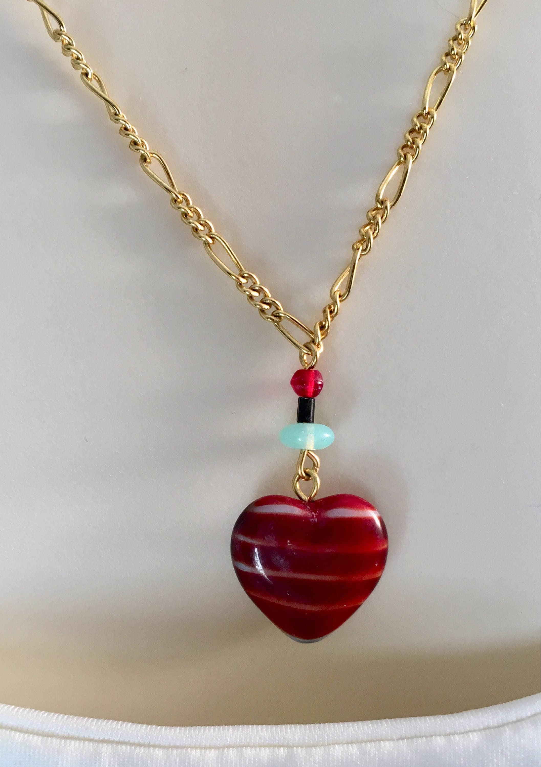 womens s women red heart pendant and of girls one shimmer crimson necklace kind pink product unique a fire
