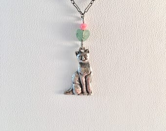 Sterling Silver Cat Necklace, Handmade, Animal Necklace, Kitten Necklace, Lucy Isaacs Mothers Day