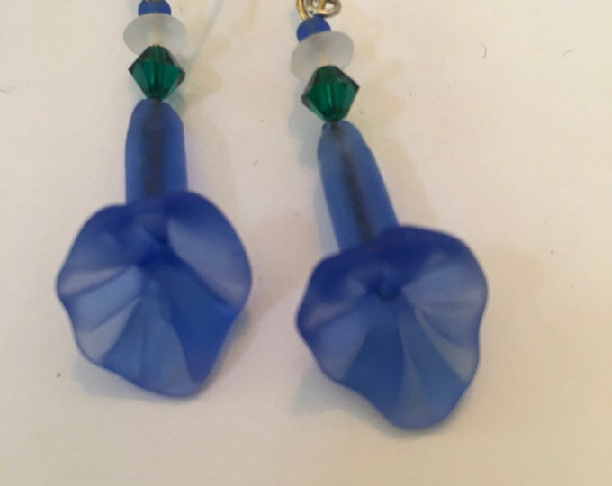 Vintage Czech Glass Earrings, Blue Earrings, Floral Earrings. Japan Glass Earrings Blue Trumpet Flower Earrings by Lucy Isaacs