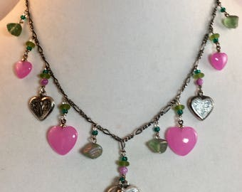 Vintage Sterling Silver and Pink Raspberry Heart Locket Necklace by Lucy Isaacs