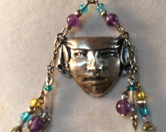 Art Noveau Necklace, Vintage Sterling Silver Art Noveau Lady Necklace, Cameo Necklace, Lucy Isaacs, Mardi Gras Mask Necklace,